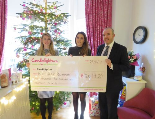 Lucy Walker Recruitment Raise £2617 for Candlelighters Charity as They Mark 25 Years in Business.